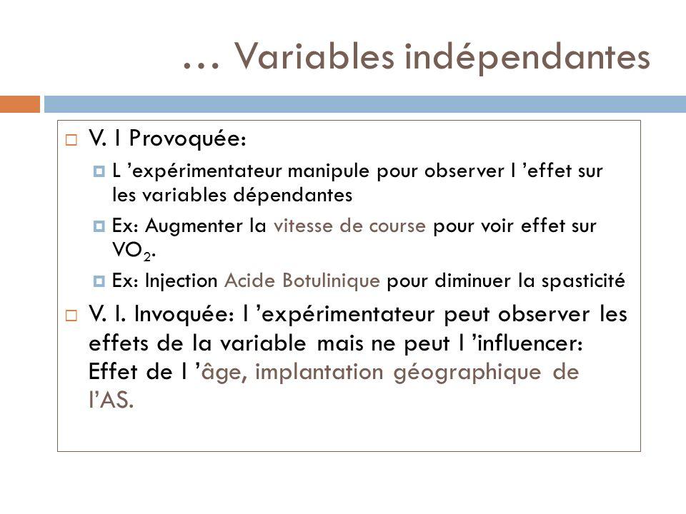 … Variables indépendantes