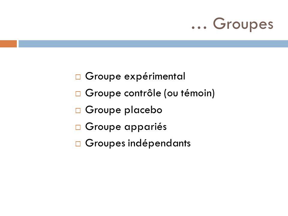 … Groupes Groupe expérimental Groupe contrôle (ou témoin)