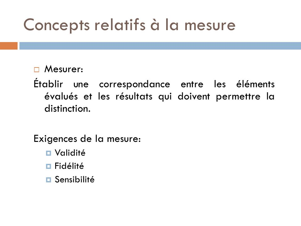 Concepts relatifs à la mesure