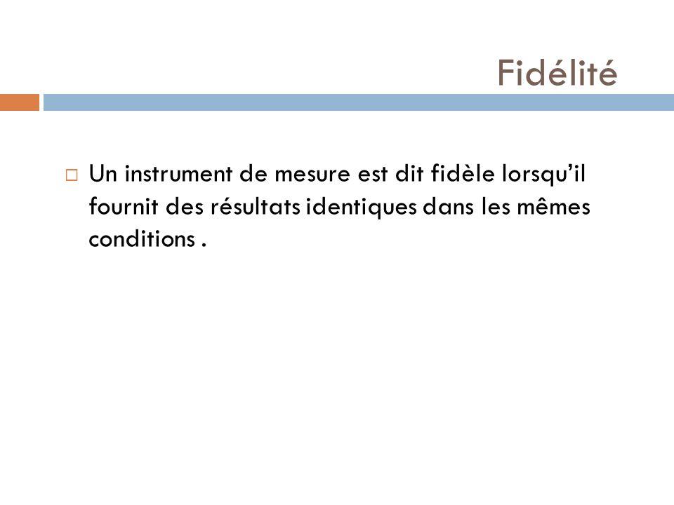 Fidélité Un instrument de mesure est dit fidèle lorsqu'il fournit des résultats identiques dans les mêmes conditions .