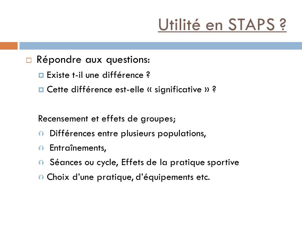 Utilité en STAPS Répondre aux questions: