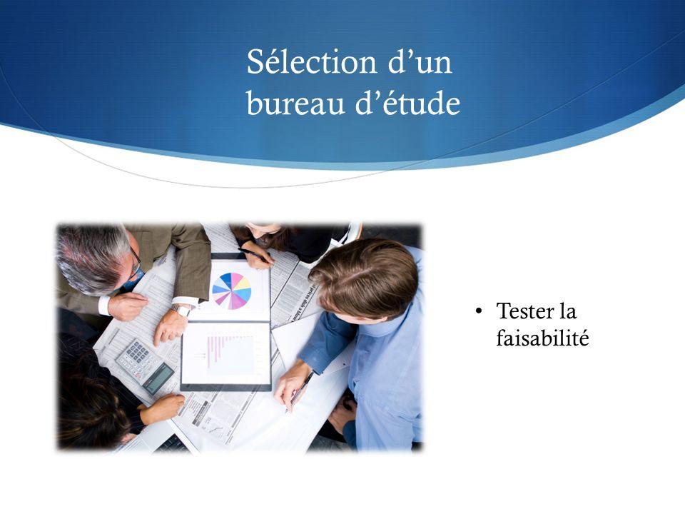 Sélection d'un bureau d'étude Tester la faisabilité