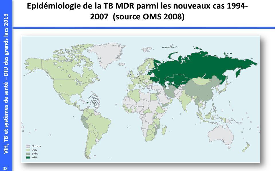 Epidémiologie de la TB MDR parmi les nouveaux cas 1994-2007 (source OMS 2008)