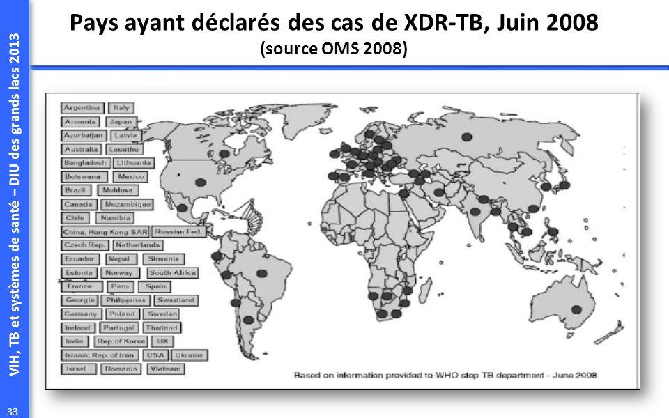 Pays ayant déclarés des cas de XDR-TB, Juin 2008 (source OMS 2008)
