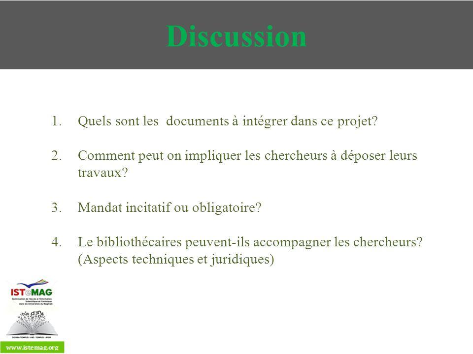 Discussion Quels sont les documents à intégrer dans ce projet