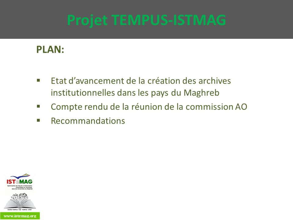 Projet TEMPUS-ISTMAG PLAN: