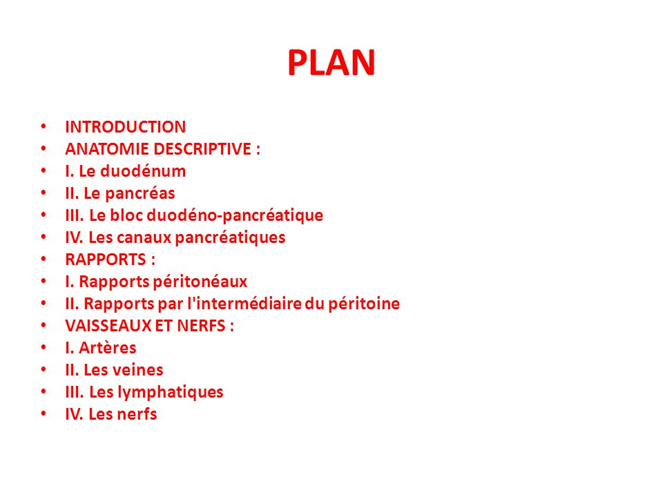 PLAN INTRODUCTION ANATOMIE DESCRIPTIVE : I. Le duodénum