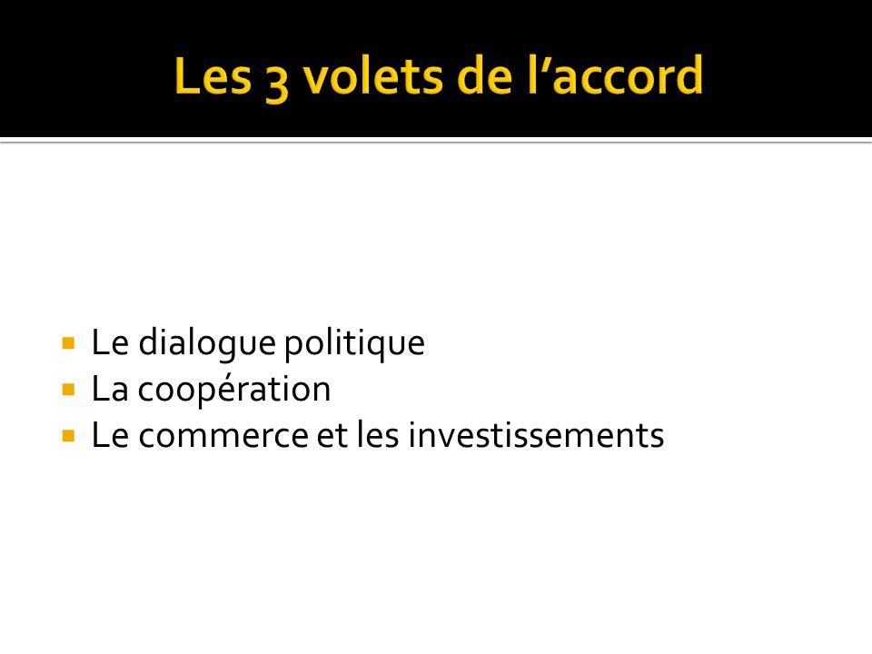 Les 3 volets de l'accord Le dialogue politique La coopération