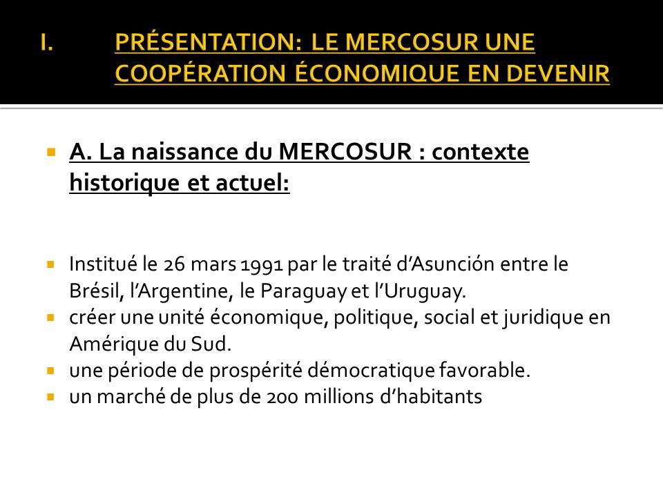 PRÉSENTATION: LE MERCOSUR UNE COOPÉRATION ÉCONOMIQUE EN DEVENIR