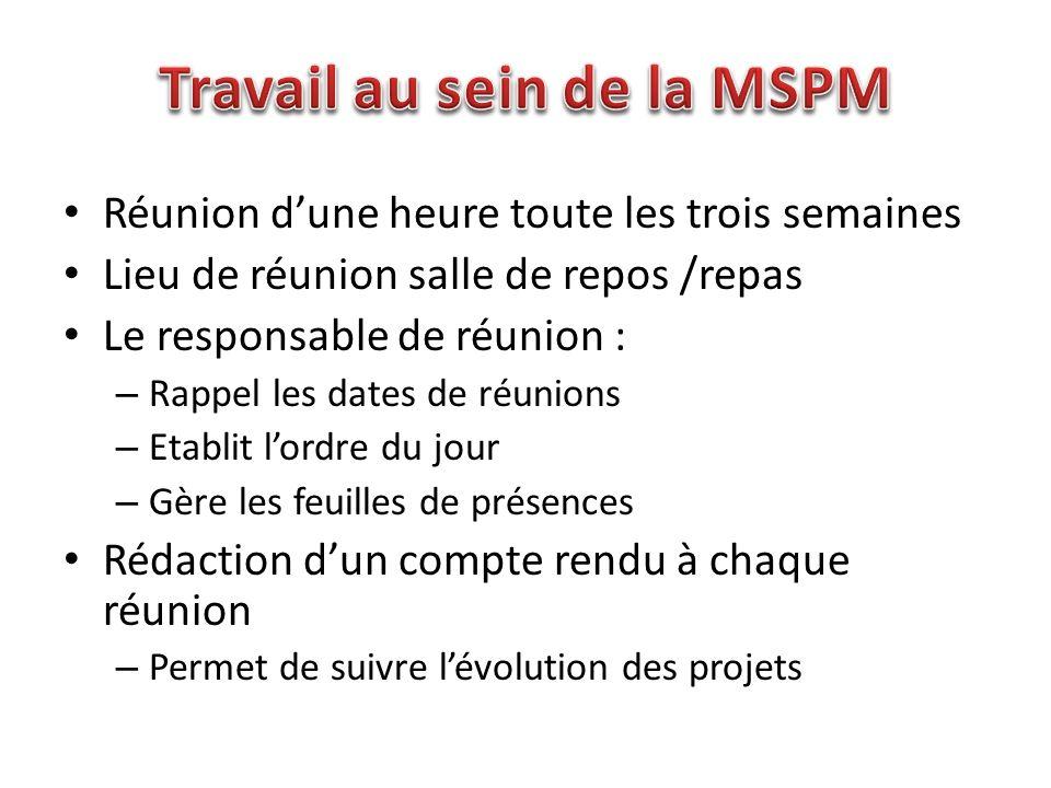 Travail au sein de la MSPM