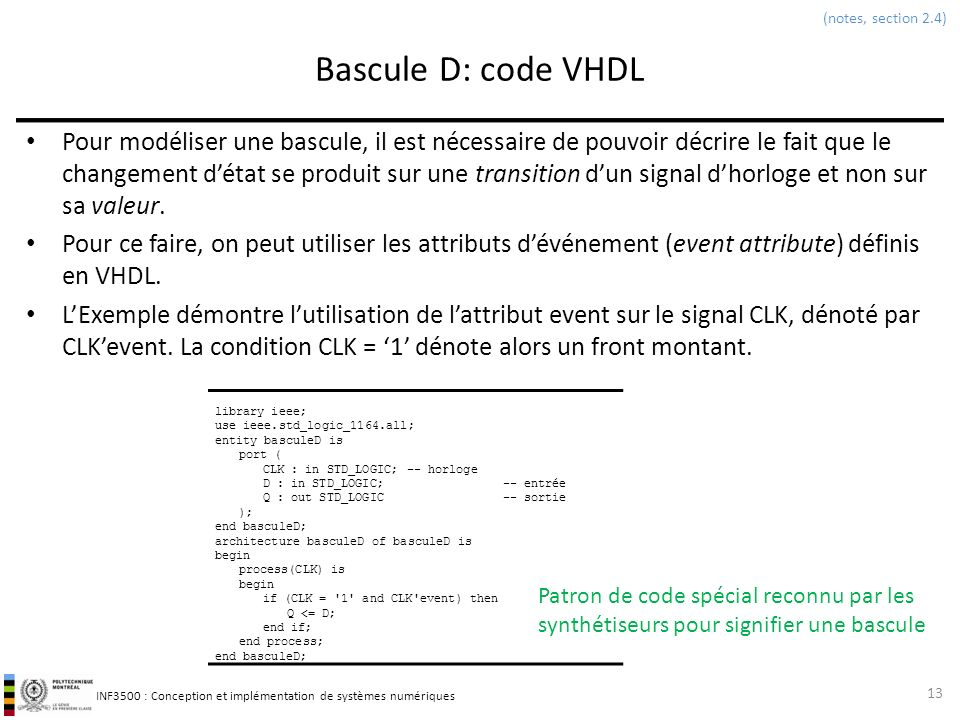(notes, section 2.4) Bascule D: code VHDL.
