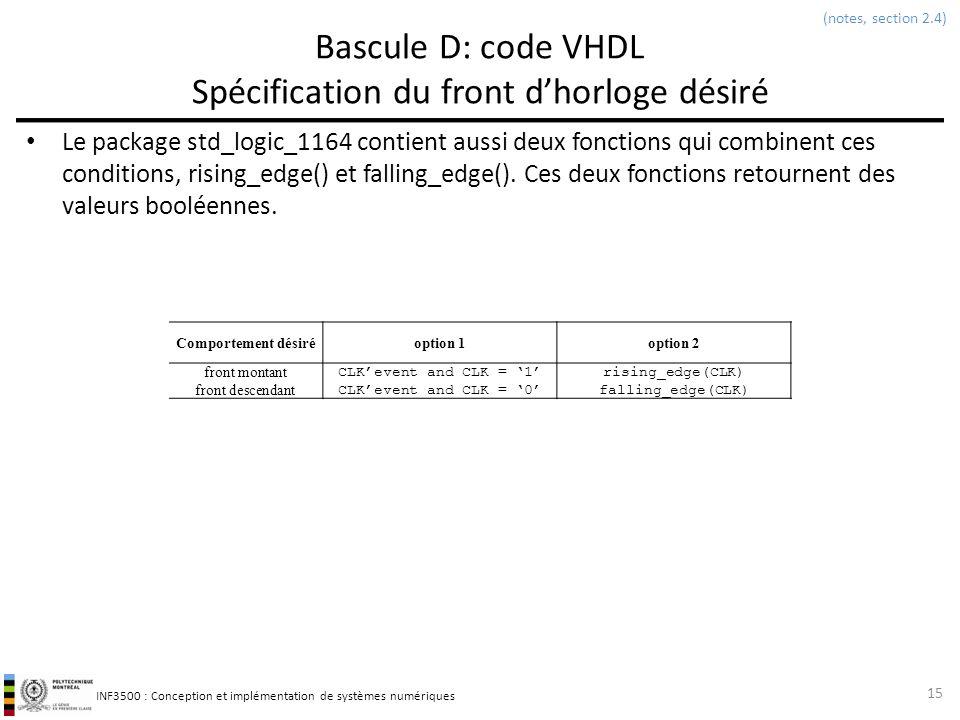 Bascule D: code VHDL Spécification du front d'horloge désiré