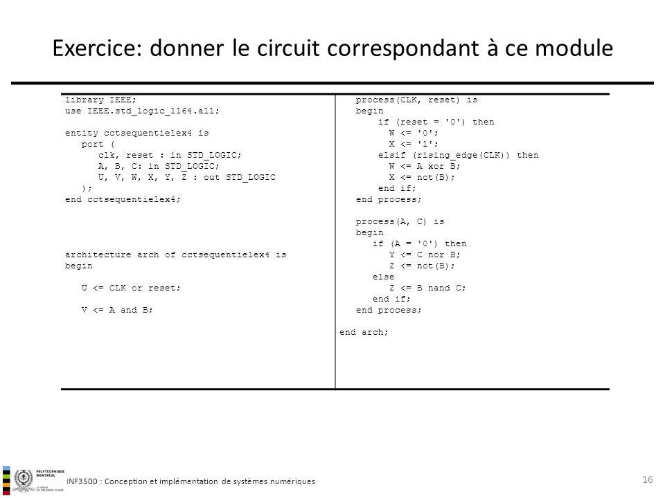 Exercice: donner le circuit correspondant à ce module