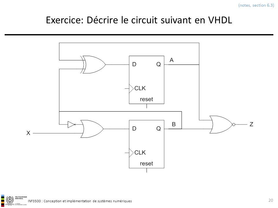Exercice: Décrire le circuit suivant en VHDL