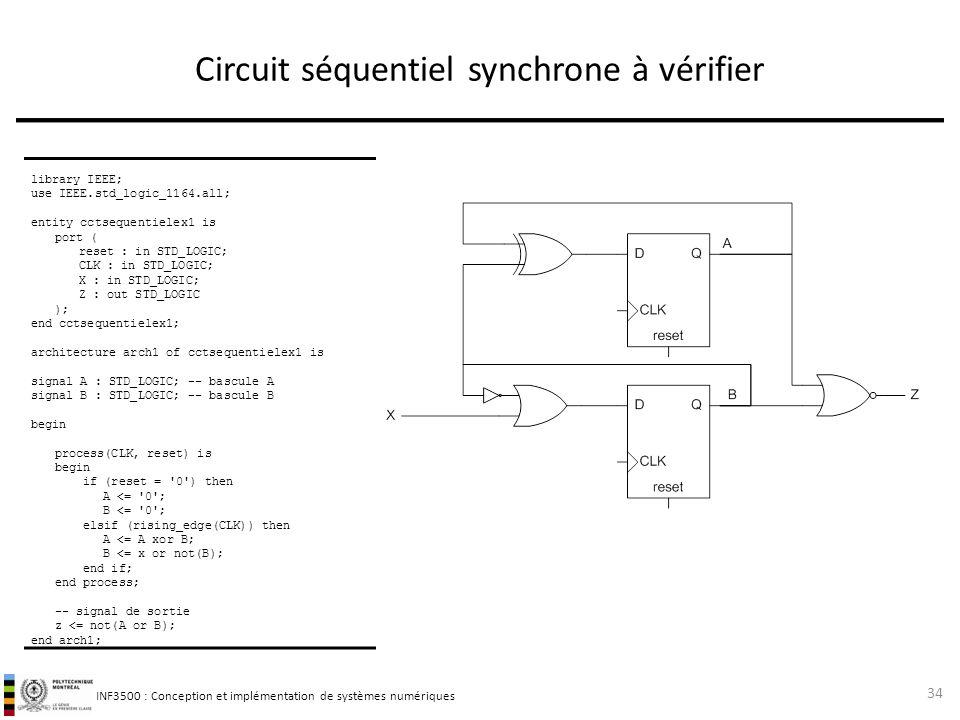 Circuit séquentiel synchrone à vérifier
