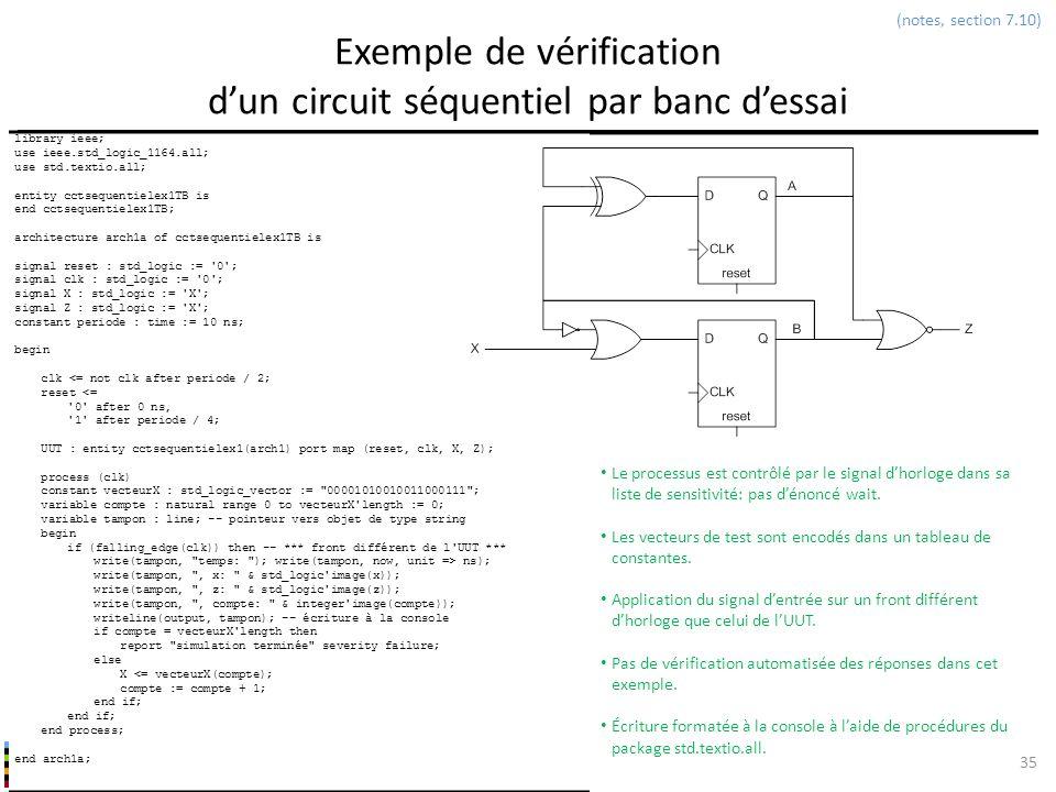Exemple de vérification d'un circuit séquentiel par banc d'essai