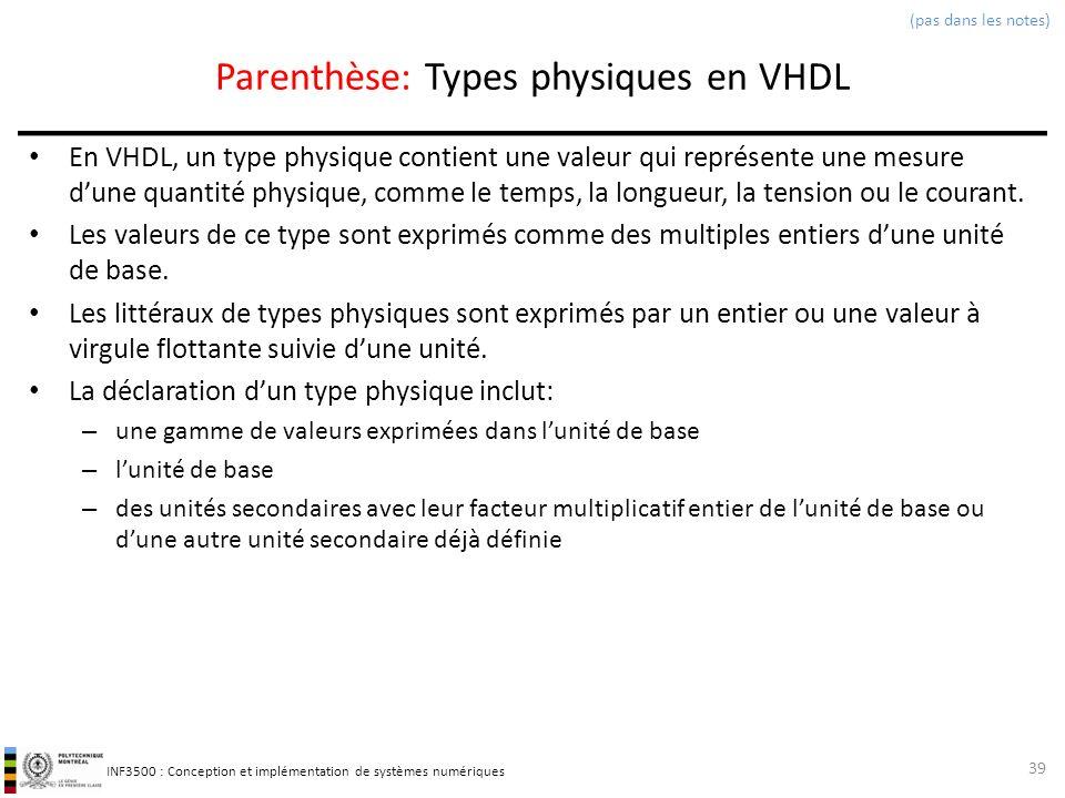 Parenthèse: Types physiques en VHDL