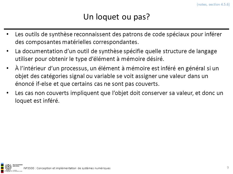 (notes, section 4.5.6) Un loquet ou pas