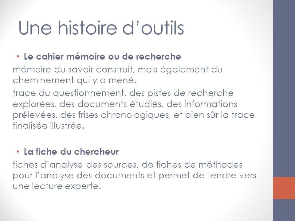 Une histoire d'outils Le cahier mémoire ou de recherche