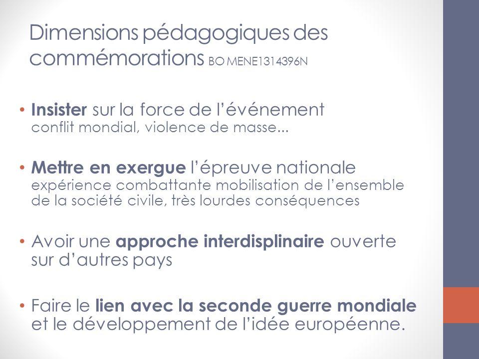 Dimensions pédagogiques des commémorations BO MENE1314396N