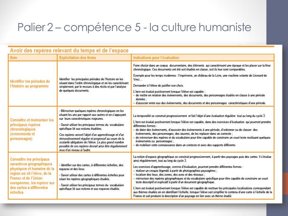 Palier 2 – compétence 5 - la culture humaniste