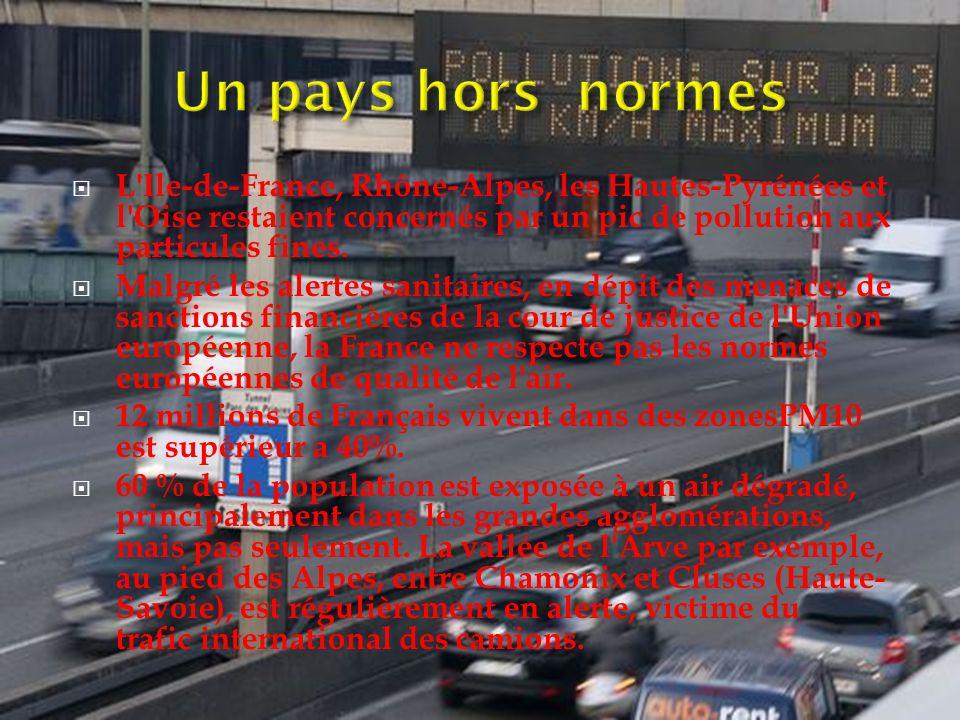 Un pays hors normes L Ile-de-France, Rhône-Alpes, les Hautes-Pyrénées et l Oise restaient concernés par un pic de pollution aux particules fines.