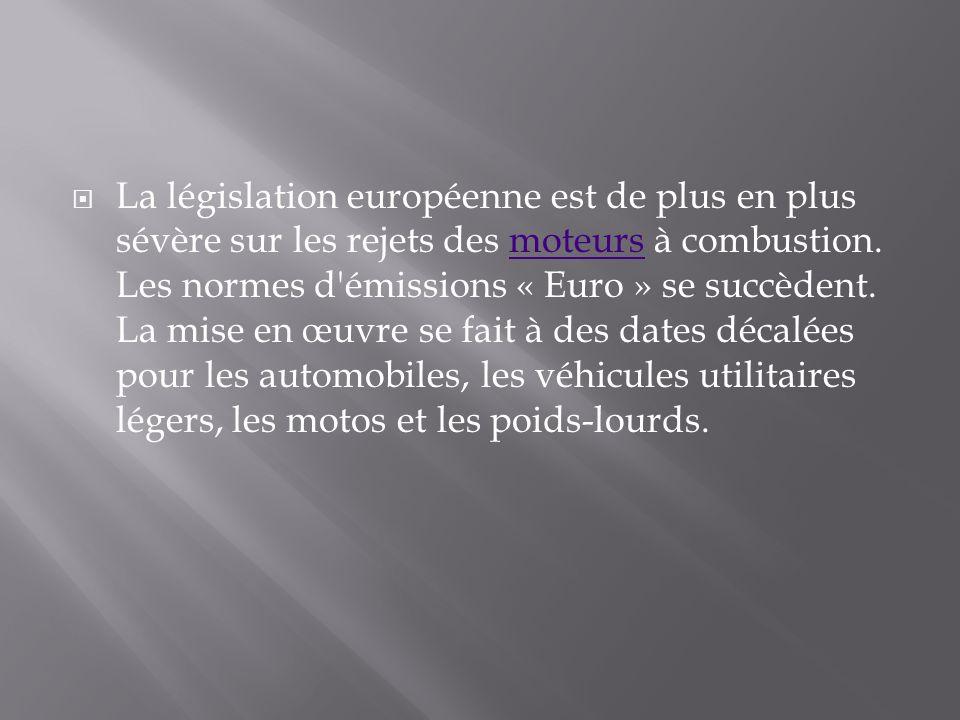La législation européenne est de plus en plus sévère sur les rejets des moteurs à combustion.