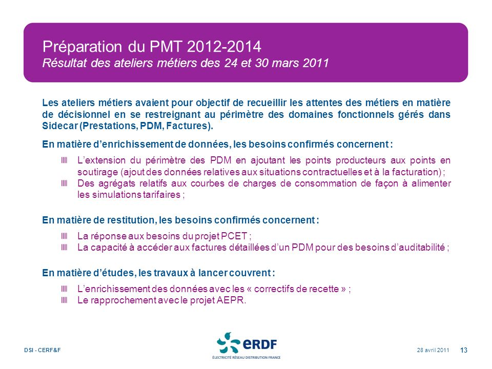 Préparation du PMT 2012-2014 Résultat des ateliers métiers des 24 et 30 mars 2011