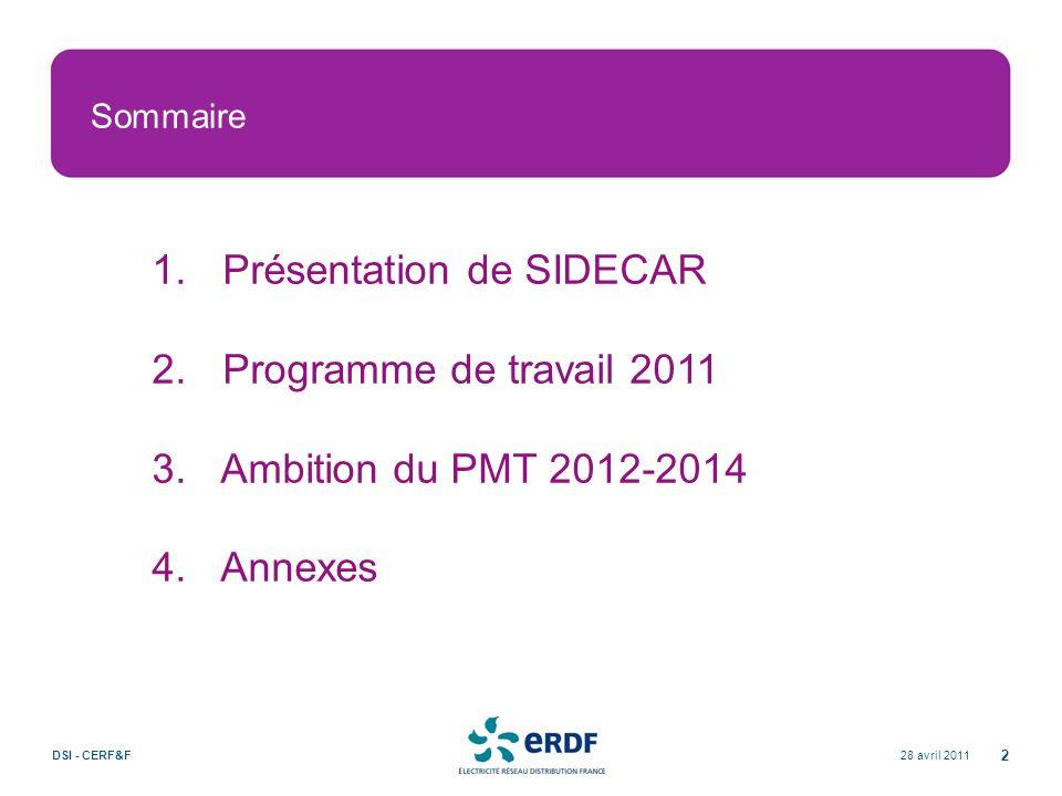 Présentation de SIDECAR Programme de travail 2011