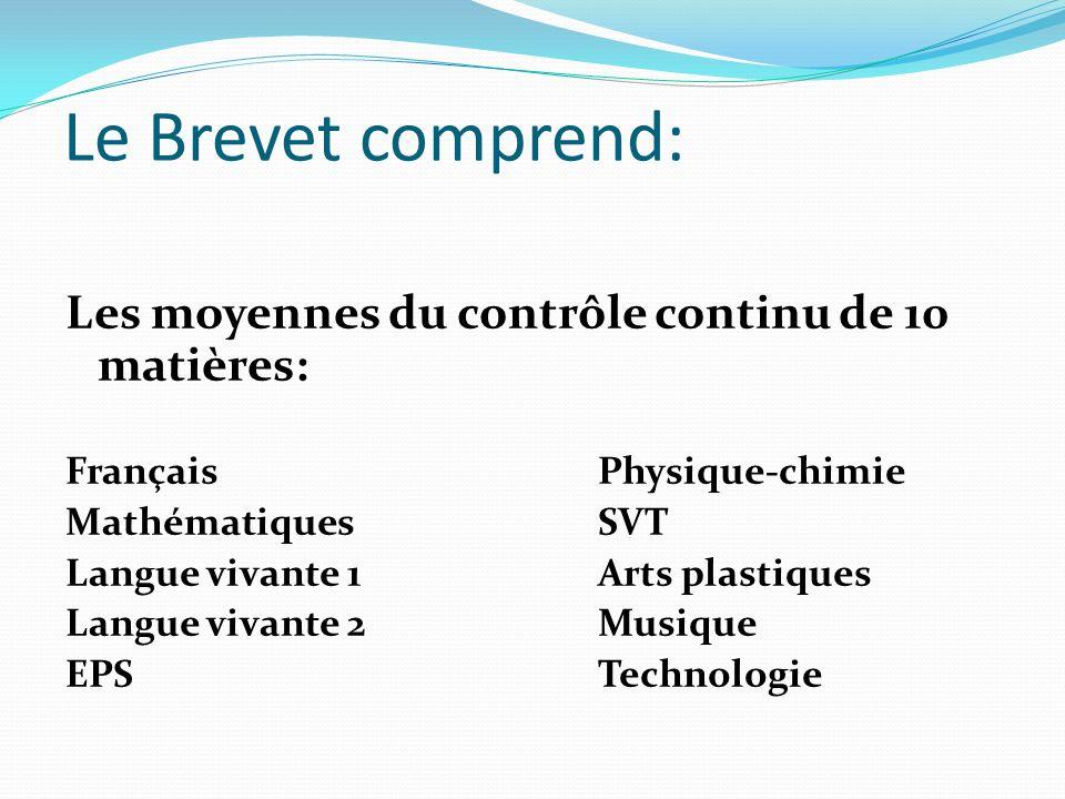 Le Brevet comprend: Les moyennes du contrôle continu de 10 matières: