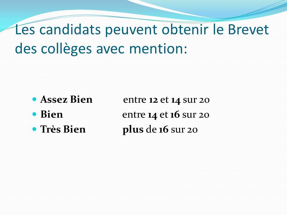 Les candidats peuvent obtenir le Brevet des collèges avec mention: