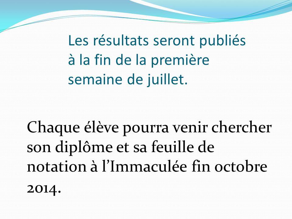 Les résultats seront publiés à la fin de la première semaine de juillet.