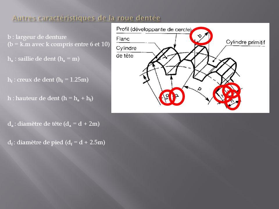 Autres caractéristiques de la roue dentée