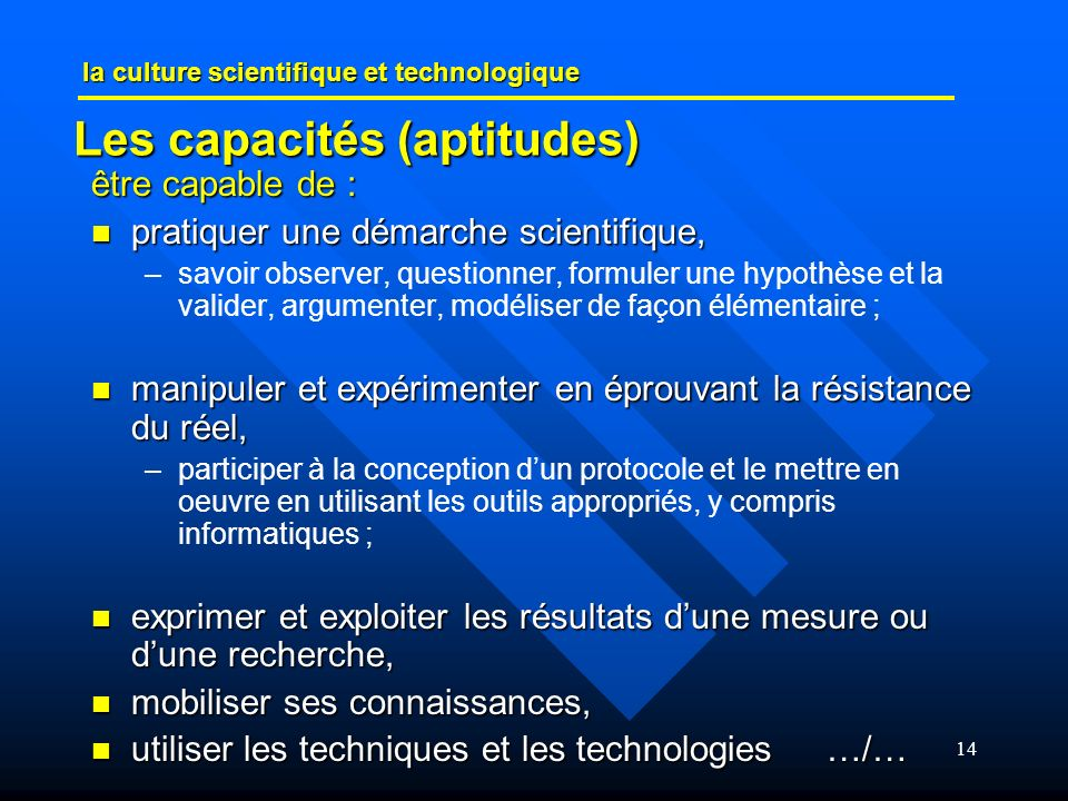 Les capacités (aptitudes)
