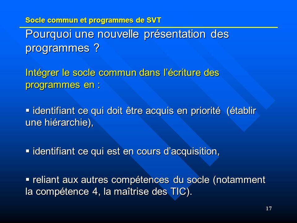 Socle commun et programmes de SVT