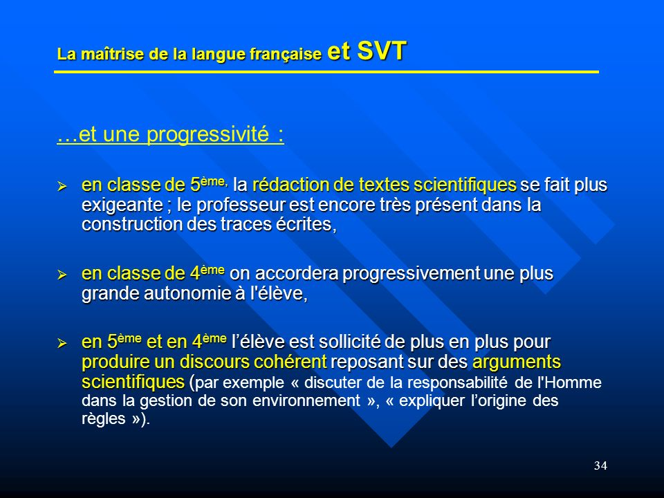 La maîtrise de la langue française et SVT