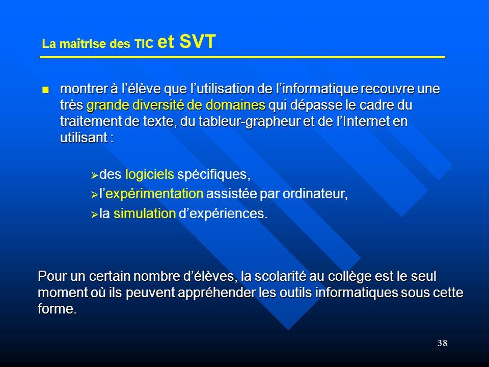 La maîtrise des TIC et SVT
