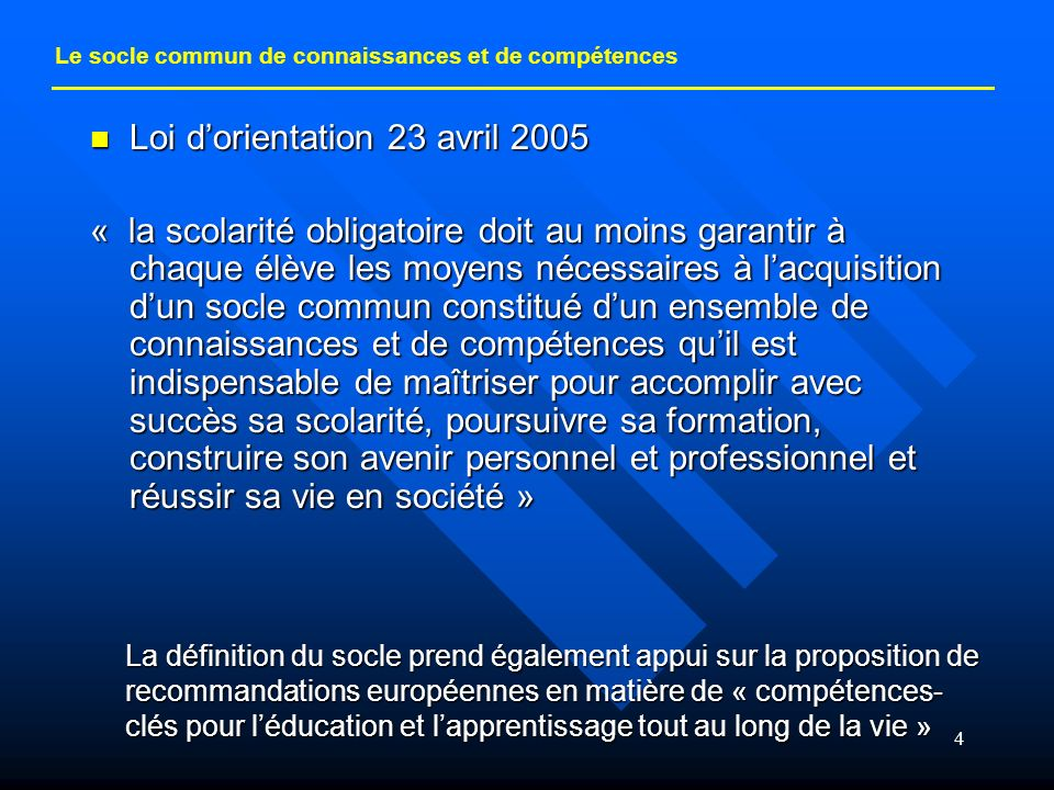 Loi d'orientation 23 avril 2005