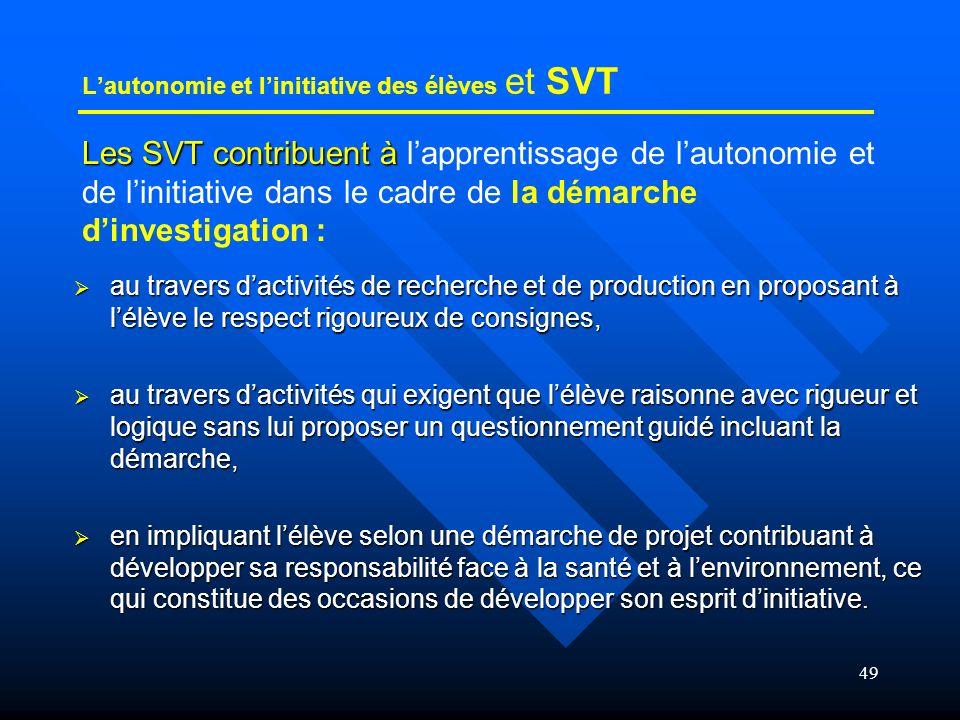 L'autonomie et l'initiative des élèves et SVT