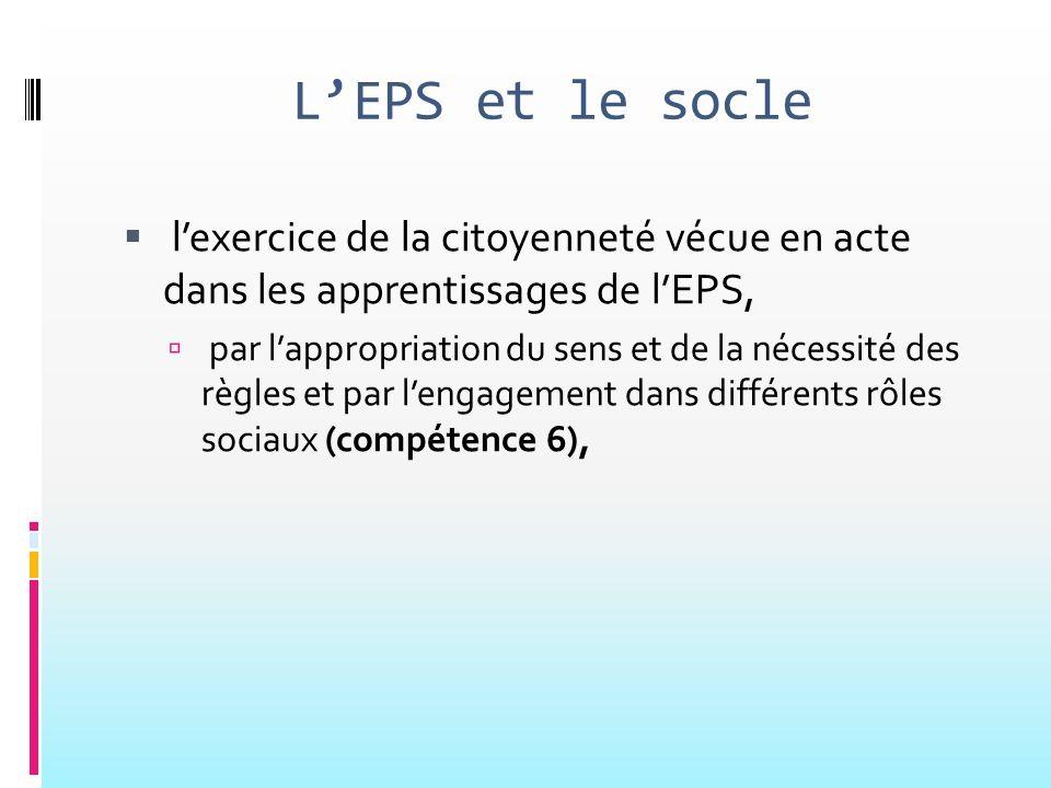 L'EPS et le socle l'exercice de la citoyenneté vécue en acte dans les apprentissages de l'EPS,