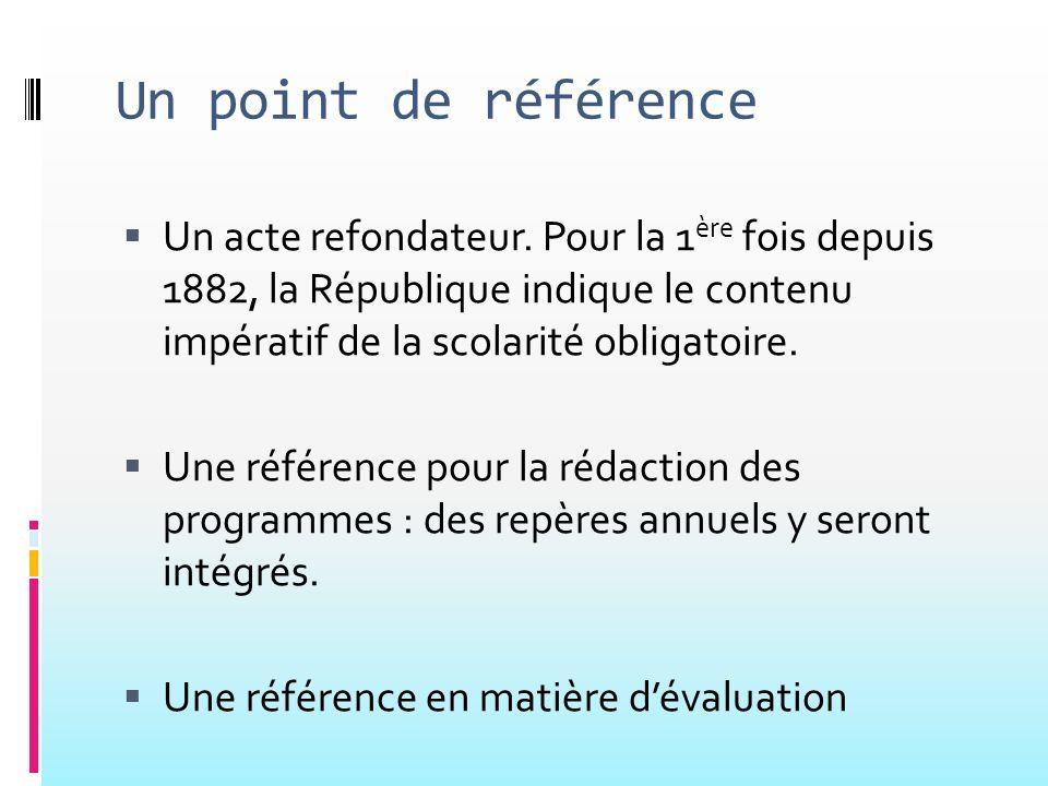 Un point de référence Un acte refondateur. Pour la 1ère fois depuis 1882, la République indique le contenu impératif de la scolarité obligatoire.