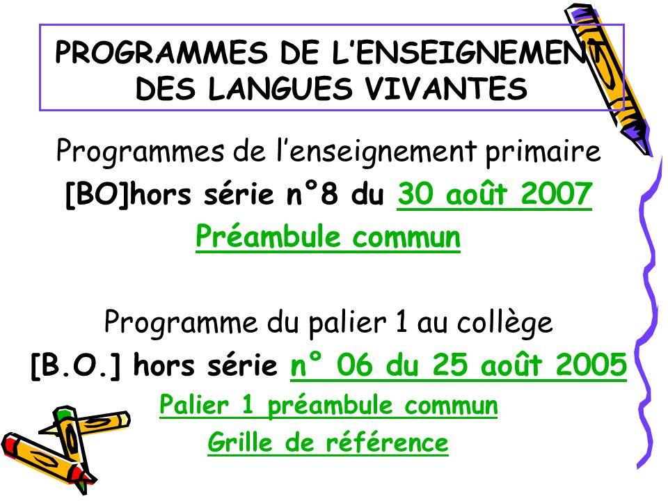 PROGRAMMES DE L'ENSEIGNEMENT DES LANGUES VIVANTES