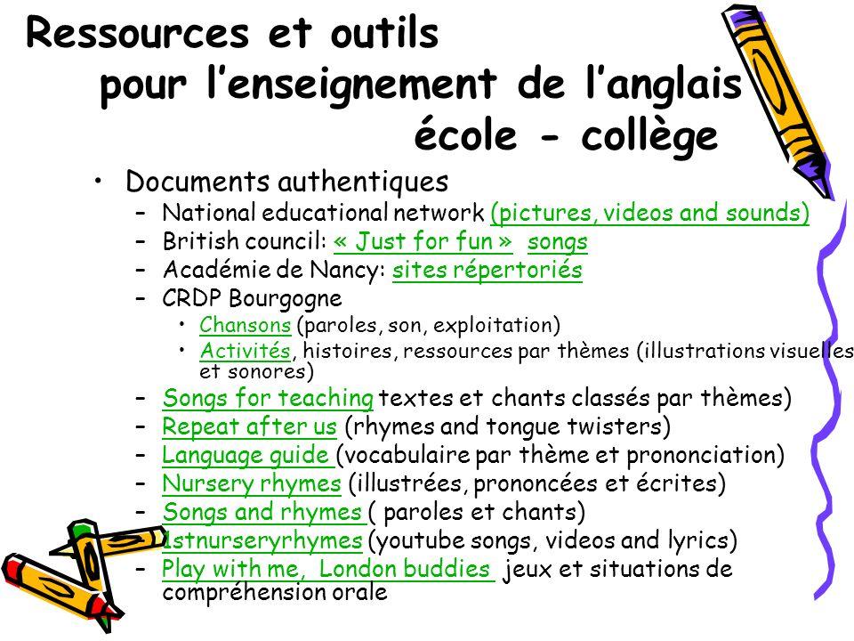 Ressources et outils pour l'enseignement de l'anglais école - collège