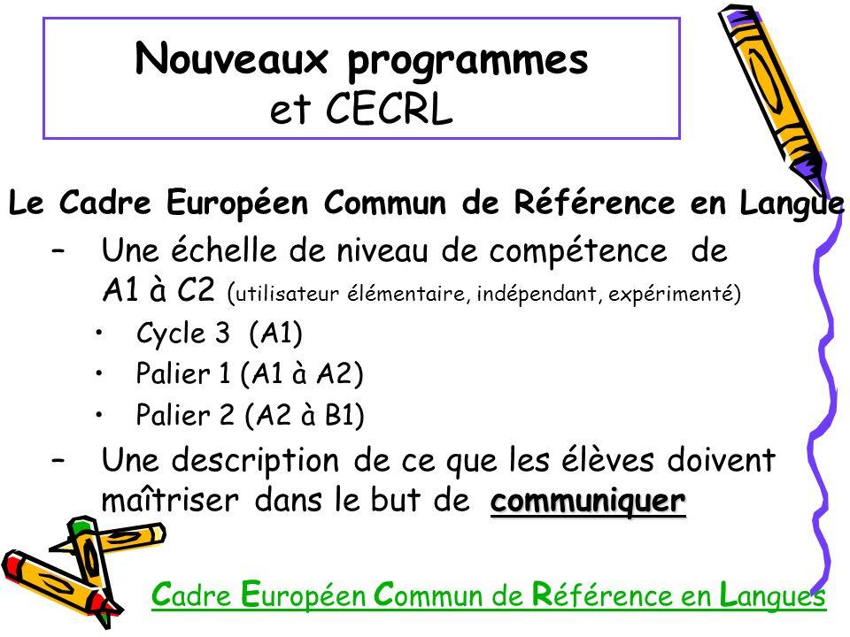 Nouveaux programmes et CECRL