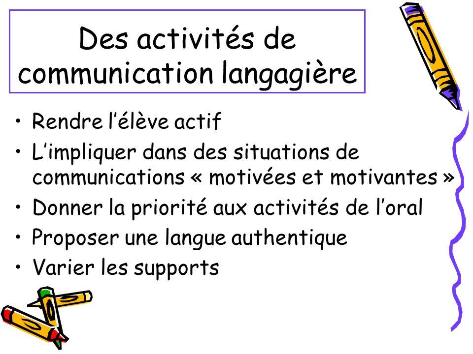Des activités de communication langagière