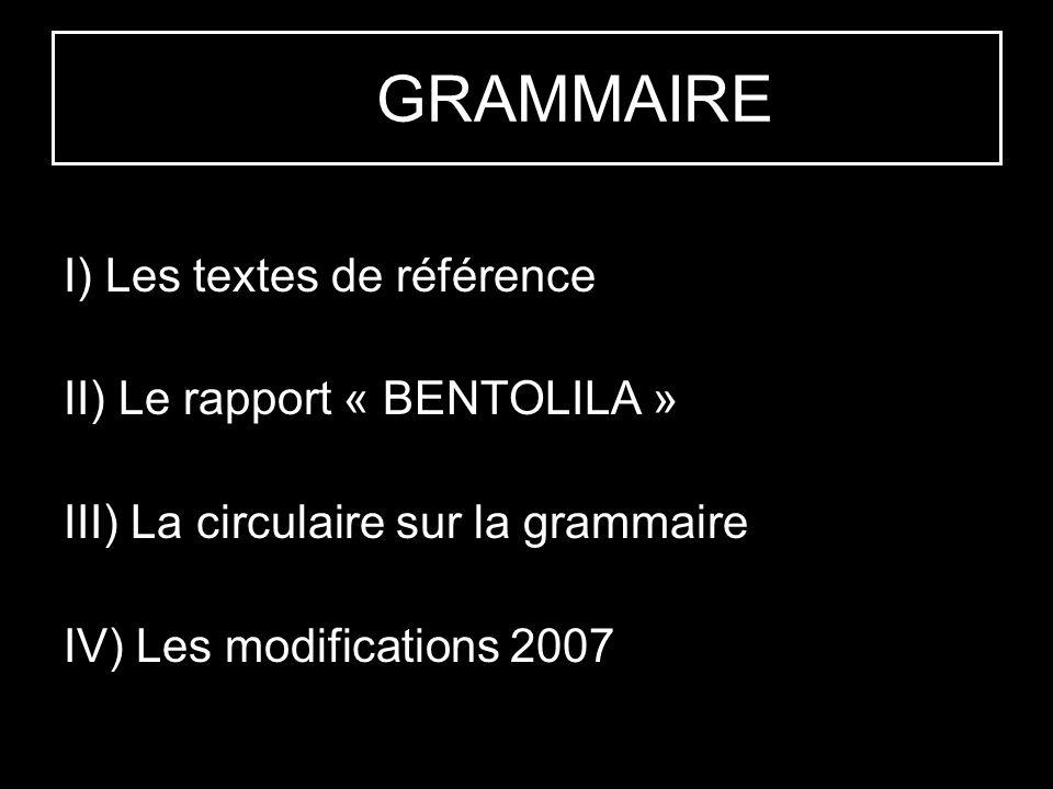 LA GRAMMAIRE I) Les textes de référence II) Le rapport « BENTOLILA »