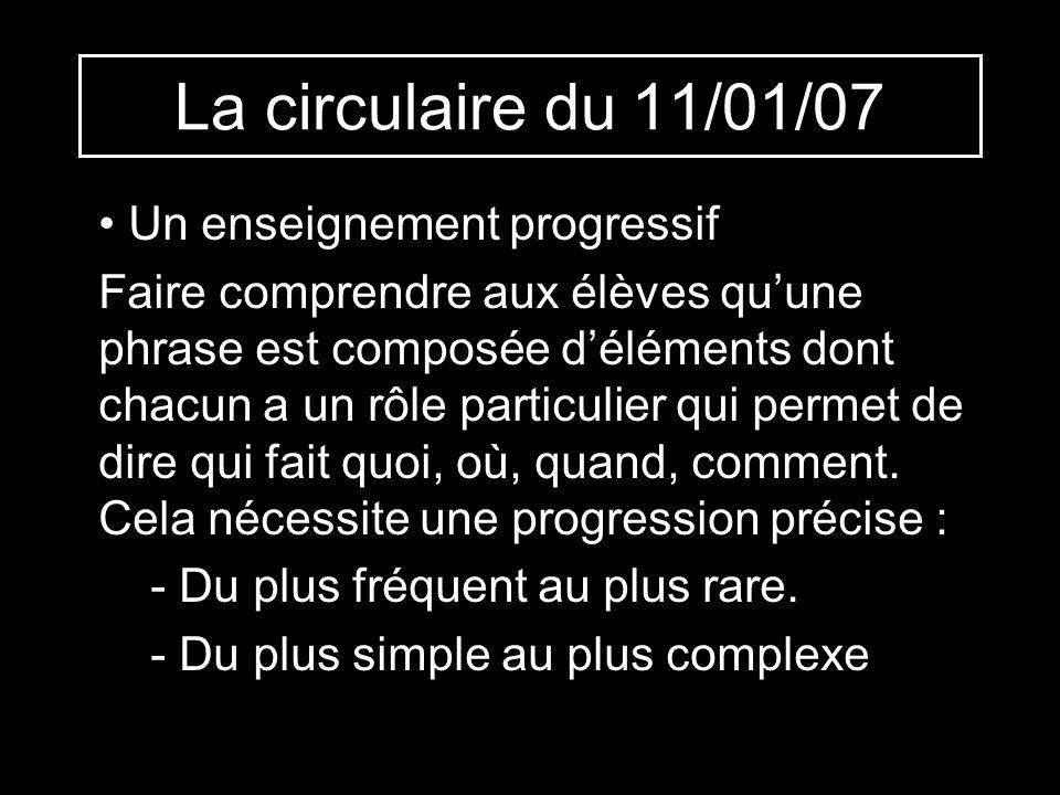 La circulaire du 11/01/07 Un enseignement progressif