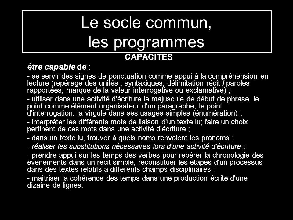 Le socle commun, les programmes