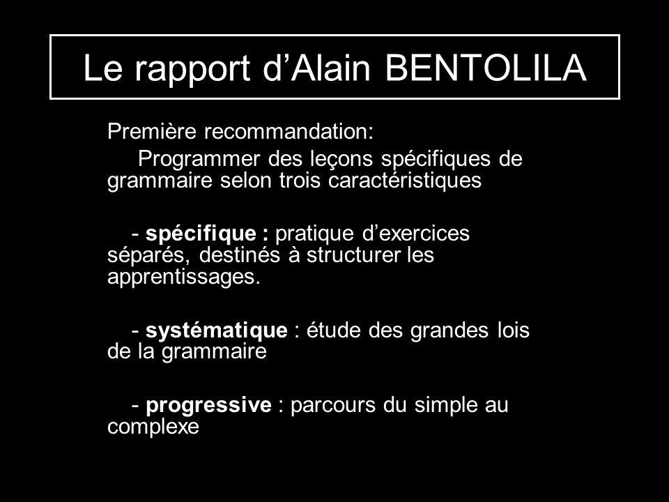 Le rapport d'Alain BENTOLILA