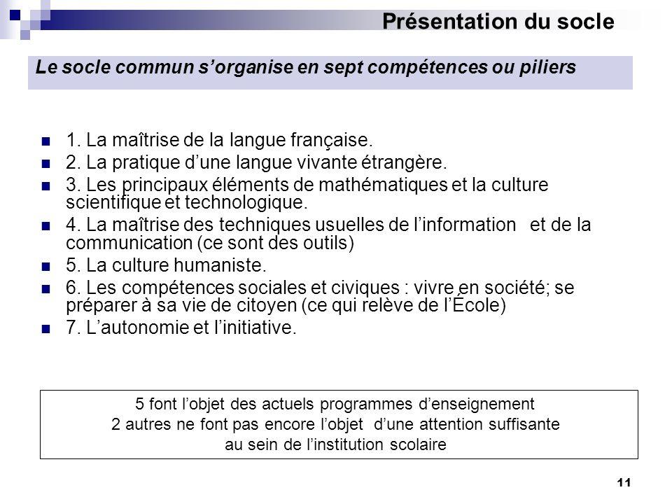 Présentation du socle Le socle commun s'organise en sept compétences ou piliers. 1. La maîtrise de la langue française.